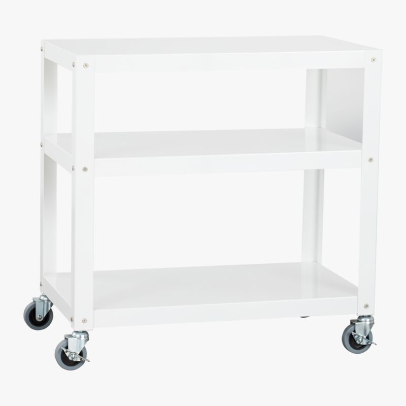 go-cart white three-shelf table