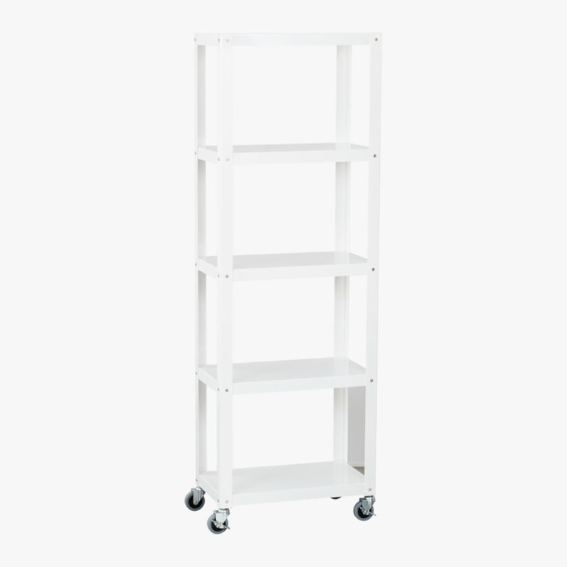 go-cart white five-shelf bookcase
