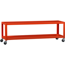 go-cart bright orange two-shelf table-media cart