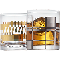 gold bars and platinum plaid double old-fashioned glass