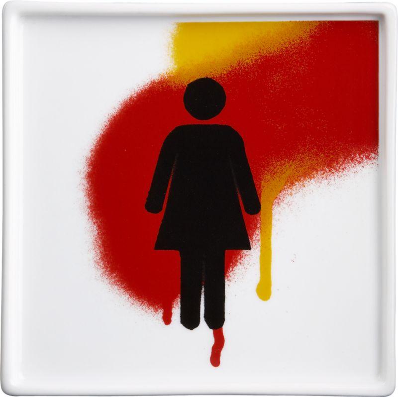 woman graffiti plate