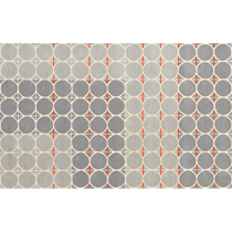 grey dot with orange rug