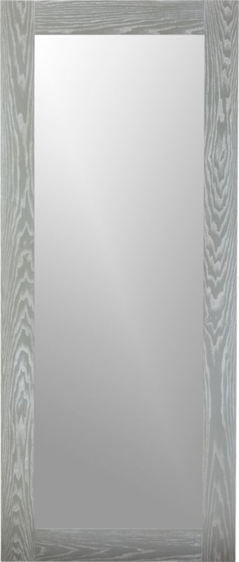 hanging-leaning grey floor mirror