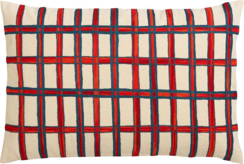 "grid embroidered 18""x12"" pillow with down-alternative insert"