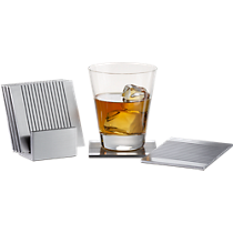 7-piece groove aluminum coasters with stand set