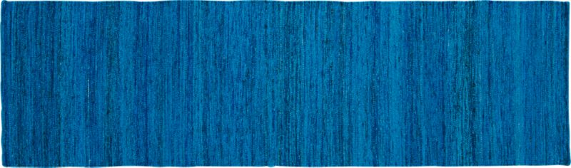 handwoven recycled sari silk blue runner 2.5'x8'