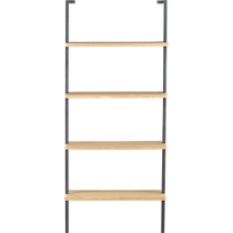 helix white oak 70&quot; wall mounted bookcase