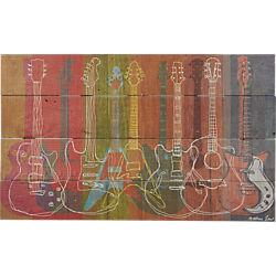 heritage guitars on wood print