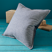 "hickory stripe and denim 16"" pillow"