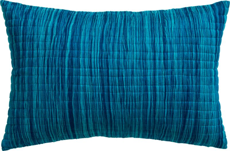 "hombre blue 18""x12"" pillow with feather-down insert"