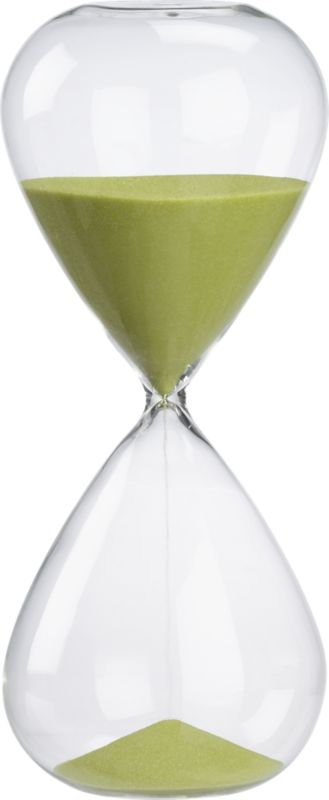 "<span class=""copyHeader""> sands of a new time.</span>  Modern handblown chem lab beaker glass tracks the time in green sand.<br /><br /><NEWTAG/><ul><li>Measures 60 minutes</li><li>Handblown beaker glass</li><li>Colored sand</li></ul>"