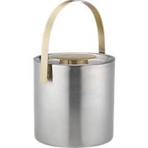 brushed stainless steel and brass ice bucket