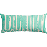 "ikat aqua 36""x16"" pillow with feather-down insert"
