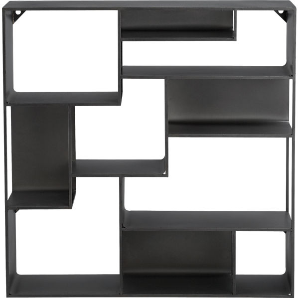 industrial metal wall mounted bookcase cb2. Black Bedroom Furniture Sets. Home Design Ideas