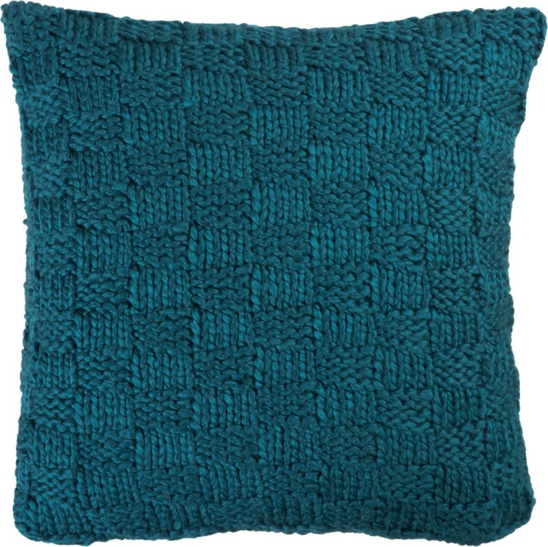 "knit blue-green 18"" pillow with feather-down insert"