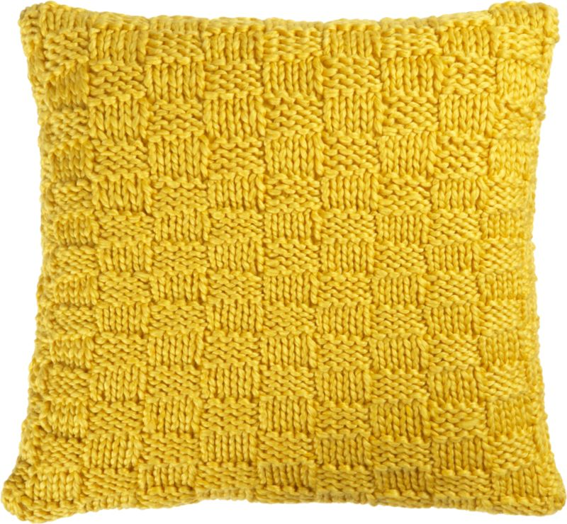 "knit yellow 18"" pillow with feather-down insert"