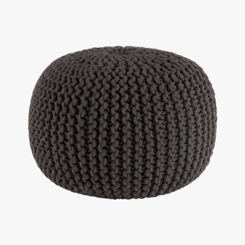 knitted graphite pouf | CB2