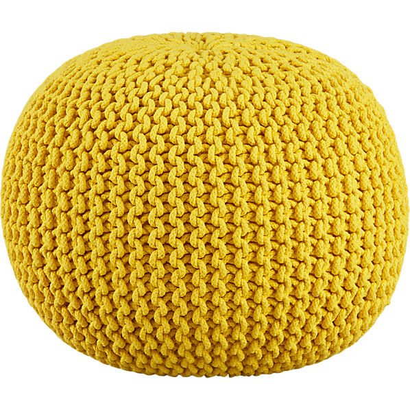 KnittedPoufYellowS14