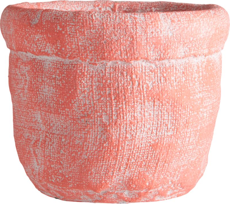 "<span class=""copyHeader"">basket case.</span> Handcrafted cement vase forms an optical illusion where crinkled cement looks soft as a burlap sack. Matte hot pink exposes patches of white, playing up natural texture with variegated tone.<br /><br /><NEWTAG/><ul><li>Handcrafted</li><li>Cement</li><li>Hand-brushed matte glaze</li><li>Wipe clean with clean damp cloth</li></ul>"