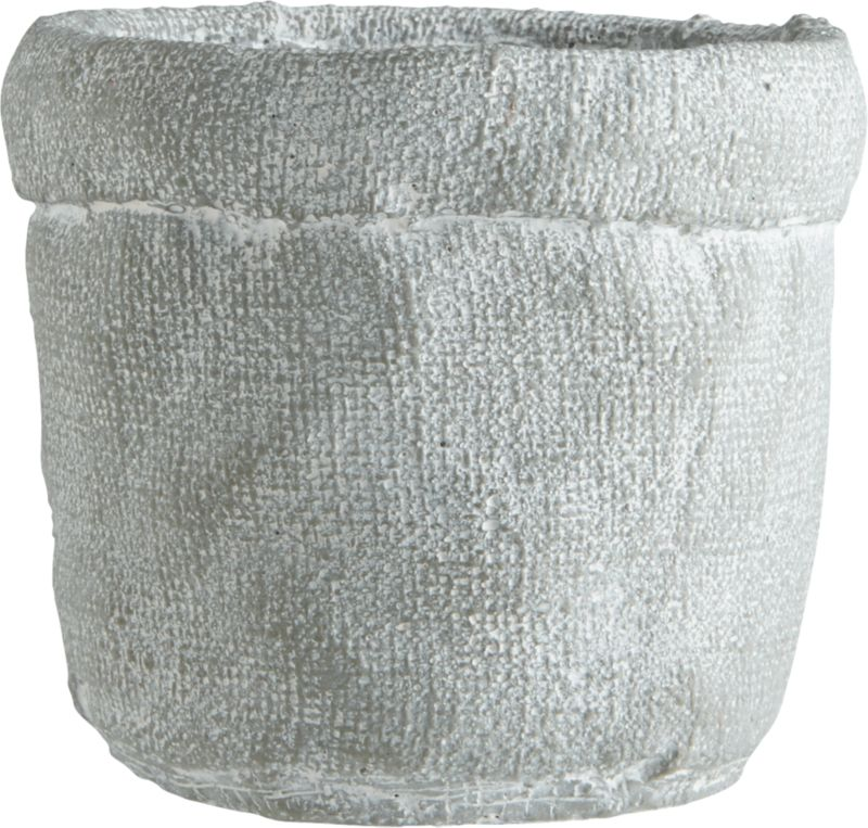 "<span class=""copyHeader"">basket case.</span> Handcrafted cement vase forms an optical illusion where crinkled cement looks soft as a burlap sack. Matte silver grey exposes patches of white, playing up natural texture with variegated tone.<br /><br /><NEWTAG/><ul><li>Handcrafted</li><li>Cement</li><li>Hand-brushed matte glaze</li><li>Wipe clean with clean damp cloth</li></ul>"
