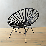 sayulita black leather chair