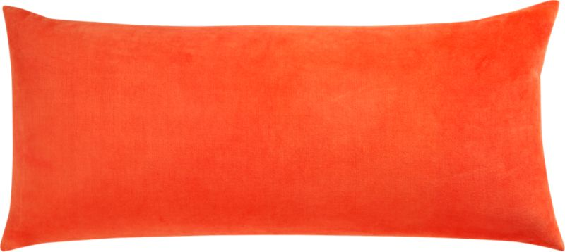 "leisure bright orange 36""x16"" pillow with feather-down insert"