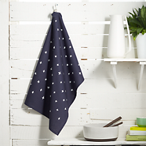 plus tea towel navy