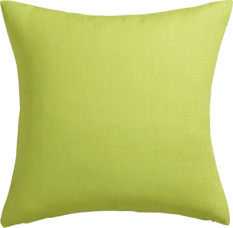 "linon sour apple 20"" pillow with feather-down insert"