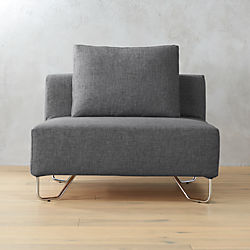 lotus blue-grey armless chair