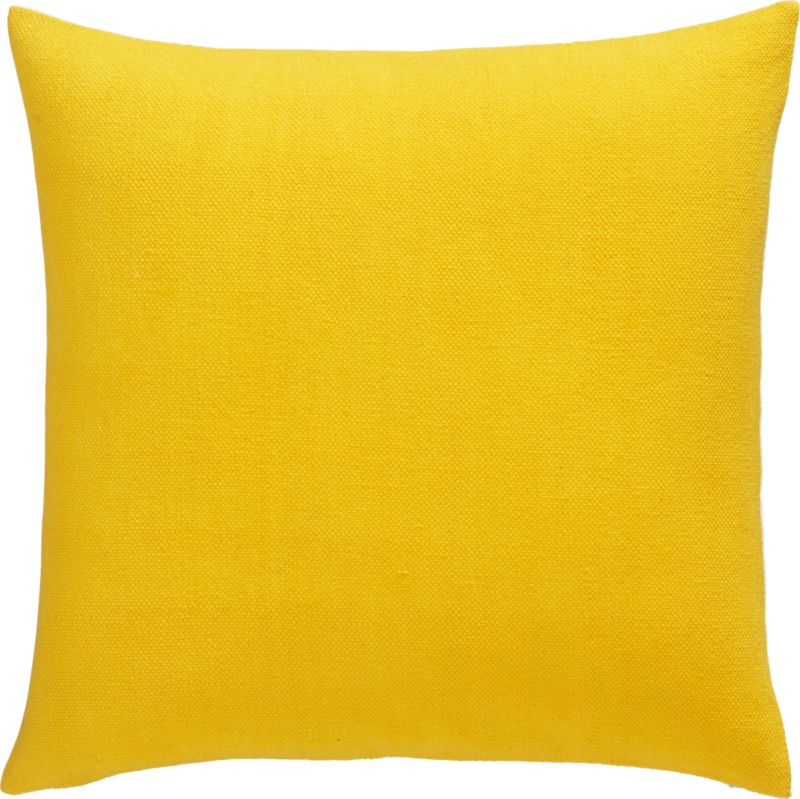 "lounge yellow 23"" pillow with feather-down insert"