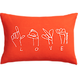 "love 18""x12"" pillow with feather-down insert"