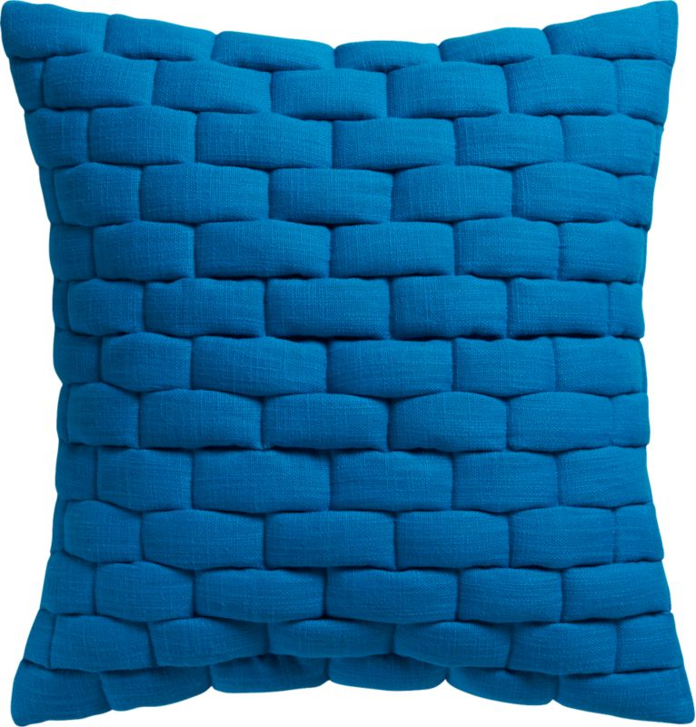 "mason quilted blue 18"" pillow with down-alternative insert."
