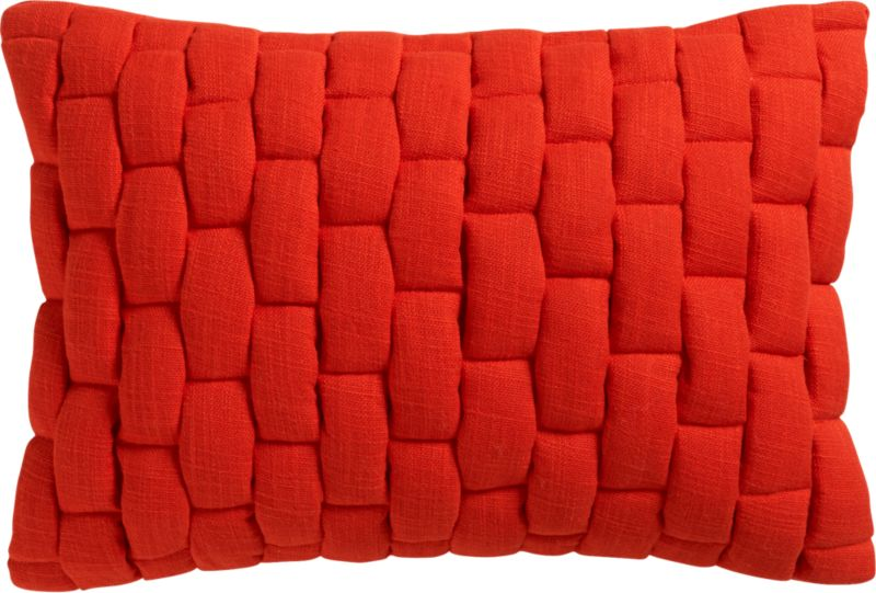 "mason quilted red orange 18""x12"" pillo"
