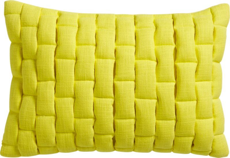 "mason quilted yellow 18""x12"" pillow with feather-down insert"