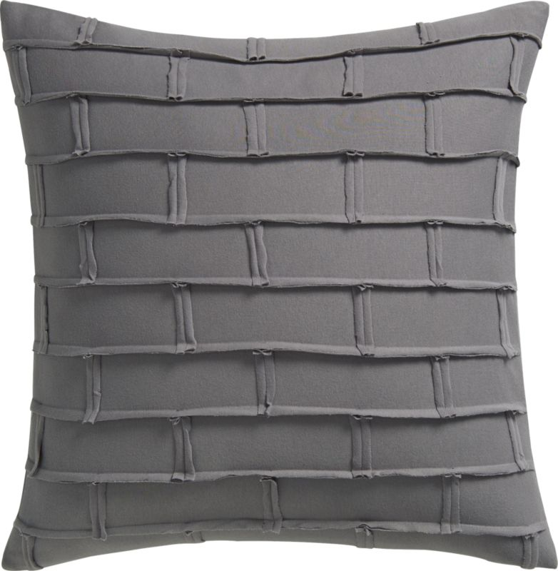 "metro grey 20"" pillow with feather-down insert"