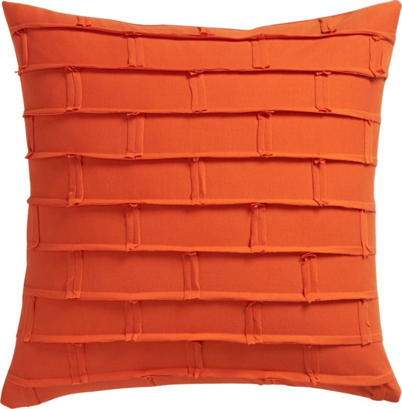 "metro orange 20"" pillow with feather-down insert"