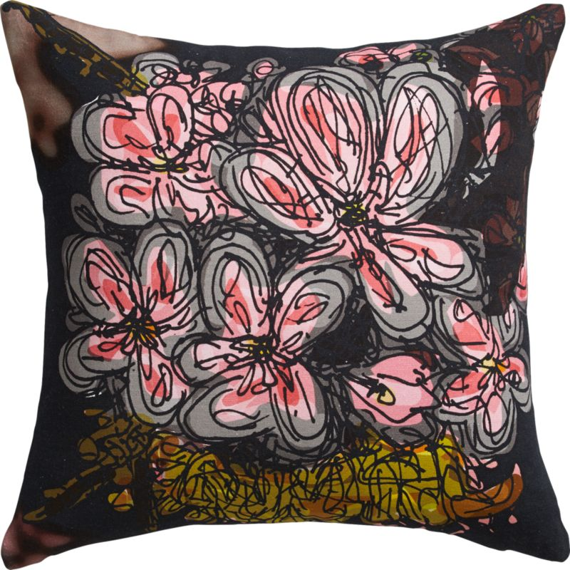 "midnight flower 18"" pillow with down-alternative insert"
