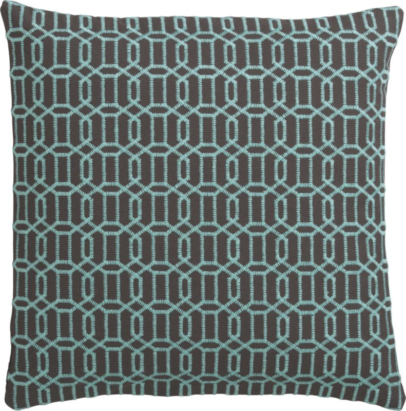 "mingle aqua-shadow 18"" pillow with down-alternative insert"