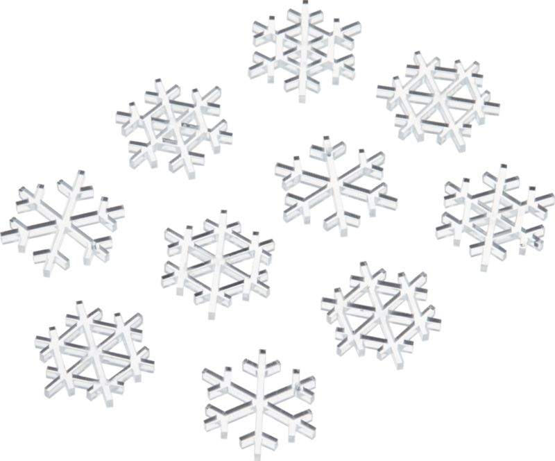 set of 10 mini acrylic snowflakes