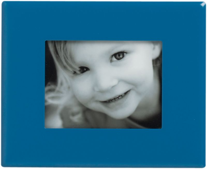 """<span class=""""copyHeader"""">snap to it.</span> Upgrade the photo gallery on your fridge. Aluminum frame painted brite swoon blue clicks to any magnetic surface to display a 1.25""""x1.5"""" pic. Hang horizontal, vertical or diagonal—any way that sticks with you.<br /><br /><NEWTAG/><ul><li>Painted aluminum frame</li><li>Magnetic backing</li><li>Holds 1.25""""Wx1.5""""H photo</li></ul>"""