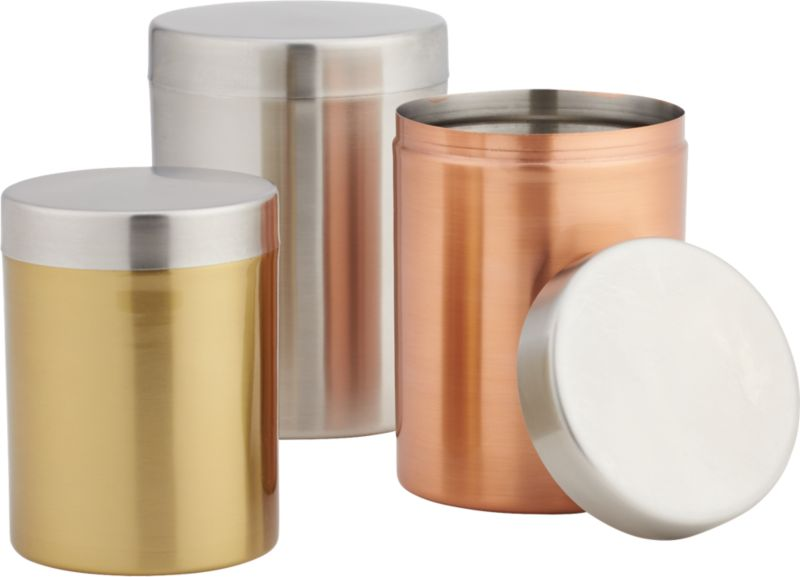 3 piece mixed metal canister set cb2 oggi airtight stainless steel canisters with acrylic tops