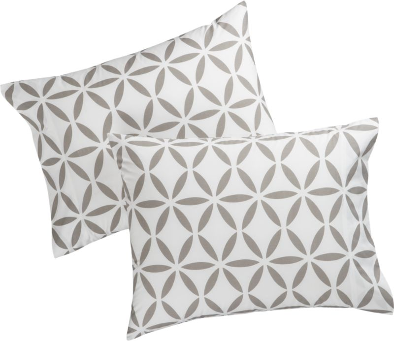 set of 2 standard mod moroccan grey shams