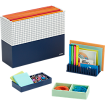 Poppin ® navy organizers and mint this way tray