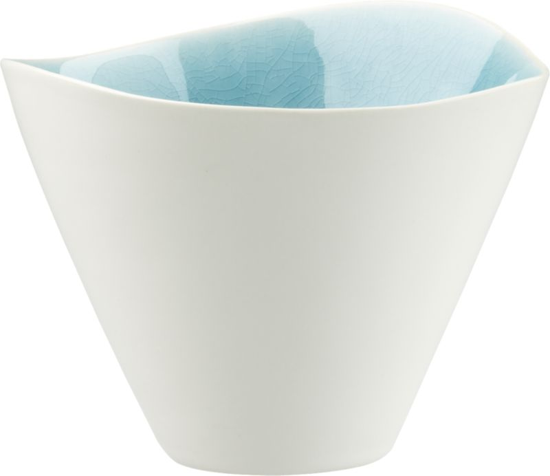 "<span class=""copyHeader"">new wave.</span> Organic shape layers as oceanic ripple in ultra durable stoneware. Bright blue crackled glaze interior shines, hi-gloss white exterior outlines freeform rim. Reactive glazes render each piece unique.<br /><br /><NEWTAG/><ul><li>Stoneware</li><li>Hi-gloss white exterior</li><li>Bright blue interior with reactive crackle glaze</li><li>Each piece is unique</li><li>Dishwasher- and microwave-safe</li></ul>"