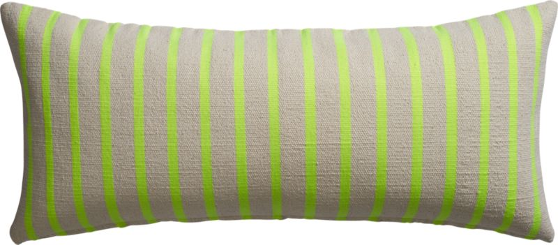 "neon stripe on natural 36""x16"" pillow"