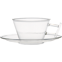 om beaker glass cup and saucer
