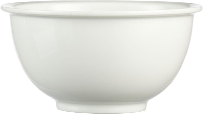 "<span class=""copyHeader"">slim rim.</span> Minimal flat rim skims the edge of clean white porcelain. Generous scoop dishes cereal to soup.<br /><br /><NEWTAG/><ul><li>Porcelain dipped in white glaze</li><li>Dishwasher- and microwave-safe</li></ul>"