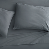 king organic grey percale sheet set