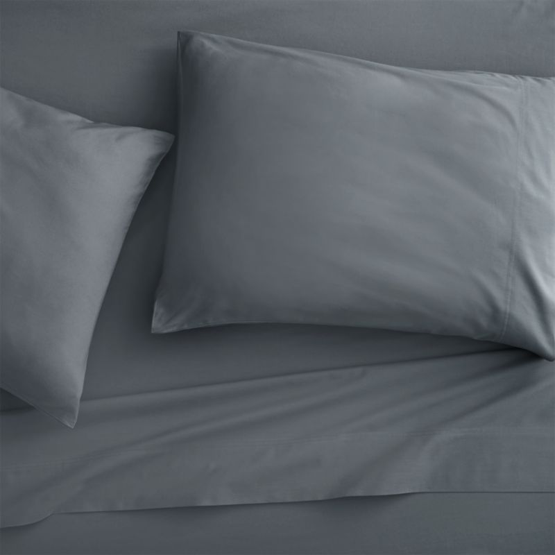 full organic grey percale sheet set