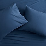 queen organic navy percale sheet set